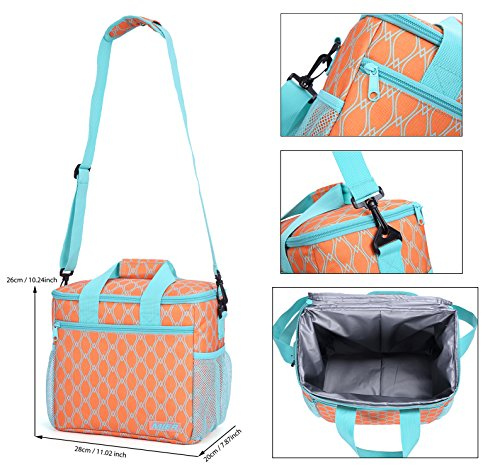 MIER 15L Large Insulated Lunch Bag Picnic Cool Bag for Men and Women, Orange