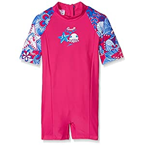 Speedo Girl Kids All in One Fantasy Flowers Essential Suit, Electric Pink/Neon Blue /White, 5 Years