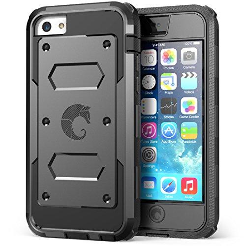 i-Blason Coque iPhone 5C Série Armorbox Coque Antichoc Étui Incassable de Protection Résistante avec Protecteur d'écran Intégré pour Apple iPhone 5C, Noir