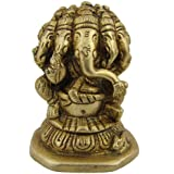 Five Faced Ganesha Idol Hindu God Figurine For Puja Brass Statue H: 7.62 Cm, W: 0.35 Kg