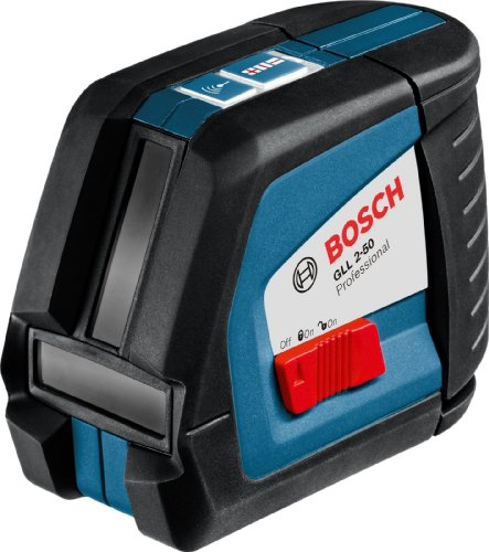 Bosch GLL 2-50 Professional Kreuzlinien-Laser im Transportkoffer mit 1 x 9 V-6LR61 (Block) Batterie und Laser-Empfänger LR 2 Prof. und Universalhalterung BM 1 Prof.