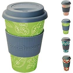 Taza amuleto de café para llevar de ebos hecha de bambú | Taza de café, taza para beber | Biodegradable, reciclabe y respetuoso con el medio ambiente | Seguro para alimentos, apto para lavavajillas (Hoja de la felicidad verde)