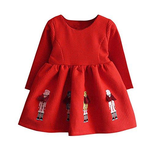 Den Hut Sie Eine In Kostüm Katze Machen (BURFLY Kinderkleidung ♥♥Mädchen-Stickerei-Karikatur-rotes Kleid, Winter-Kleidung-langes Hülsen-Stickerei-Prinzessin-Kleid (3 Jahre alt,)