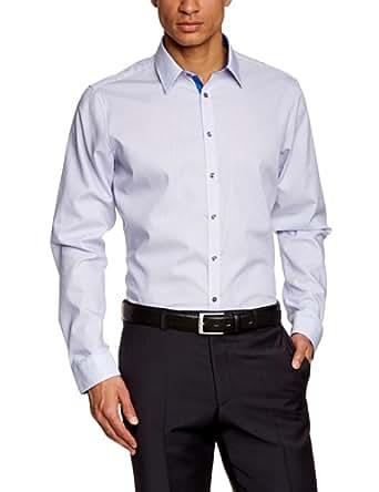 Schwarze Rose Herren Slim Fit Businesshemd MODERN KENT PATCH 228266, Gr. Large (Herstellergröße: 42), Blau