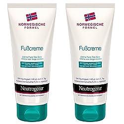 Neutrogena Norwegische Formel Fußcreme/Feuchtigkeitsspendende Fußpflege für trockene Füße/24h Feuchtigkeit/2 x 100ml
