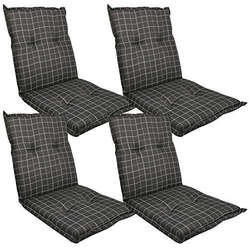 Diluma Niedriglehner Auflage Naxos für Gartenstühle 4er Set 98x49 cm Karo Anthrazit - 6 cm Starke Premium Stuhlauflage mit Komfortschaumkern - Sitzauflage Made in EU