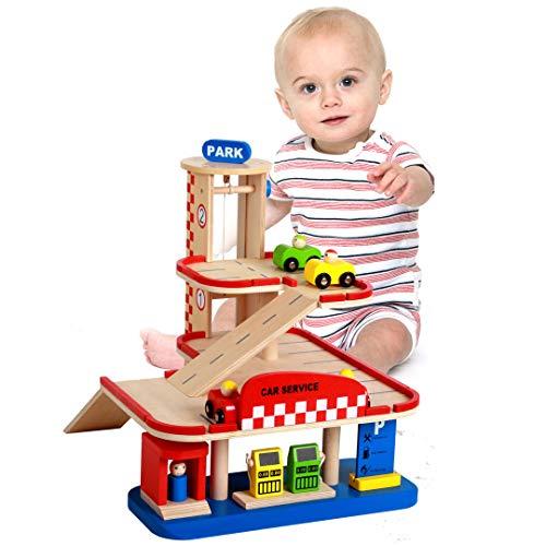 Wdxin casa delle bambole puzzle giocattolo giocattolo da gioco per bambini parcheggio tridimensionale in legno a tre piani set giocattolo car track.