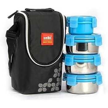 Cello Max Fresh Click Steel Lunch Box Set, 4-Pieces, Blue