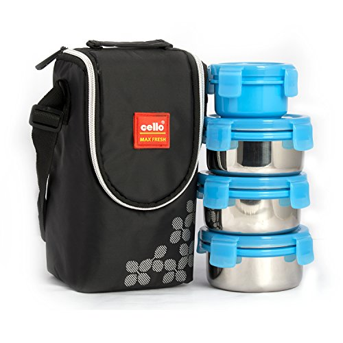 Cello Max Fresh Click Steel Lunch Box Set, 300ml, 4-Pieces, Blue
