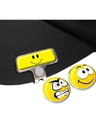 Gelb Smiley Elite hat oder Gap Clip mit Lächeln und Angry Golf Ball Marker