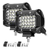 LE 2er LED 72W Zusatzscheinwerfer 12V 24V 4 Zoll 5200lm 4 Reihen Arbeitsscheinwerfer LED Scheinwerfer IP68 wasserdicht Flutlichtstrahler mit 24 LEDs