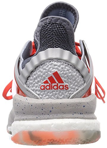 adidas Men's Stabil X Handball Shoes, Grey (Silver Metallic/Hi-Res Red/Raw Grey Silver Metallic/Hi-Res Red/Raw Grey), 8.5 UK