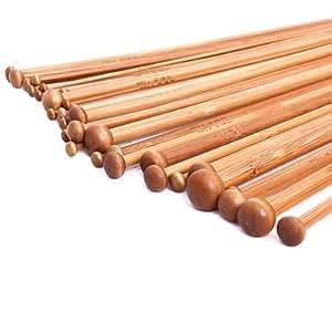 Set 36 Einzel-spitzen Stricknadeln aus Bambus von 18 verschiedenen Größen karbonisiert(2MM- 10MM)