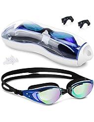Occhialini da Nuoto, Anti-Appannamento Occhiali da Piscina Agonistico Protezione UV Impermeabile, con Tappi per Orecchie e Clip per Naso, per Adulti, Adolescenti e Bambino (Blu)