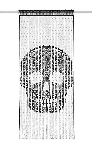 Albani Fadenvorhang Skull BxH 9x245cm   Totenkopf schwarz   mit Stangendurchzug  