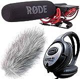 Rode Rycote - Micrófono para cámara + protección contra el viento de piel Keepdrum WS-WH + Auriculares estéreo Keepdrum
