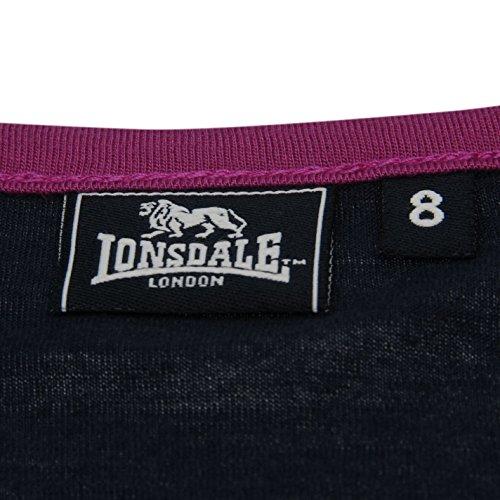 Lonsdale Femmes Logo T-Shirt Col Rond Tee Top Haut Casual Sport Manche Courte Bleu Marine