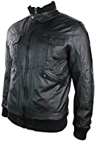 Mens Urban Retro Leather Bomber Jacket High Collar Zipped Pockets Black Vintage