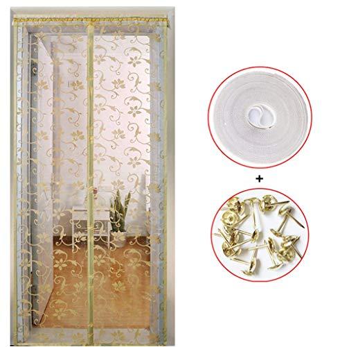 FOTEE Magnet Fliegengitter Tür BalkontüR, mit automatischem Magnetverschluss Moskitonetz für Türen Klettverschluss Magnet Fliegenvorhang Ideal für die Balkontür,Beige_40x88in/100x220CM