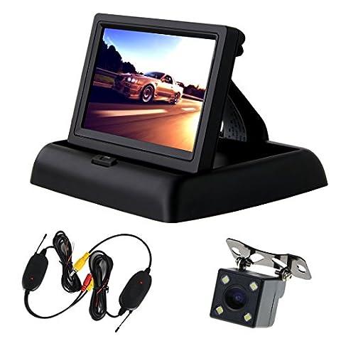 Pathson Sans fils 4,3 pouces TFT LCD moniteur pliant+Caméra de recul de trajectoire intelligente de la voiture kit marche arrière avec une ligne modifiable automatiquement et un module de capteur image CCD,4 lumières LEDs Vision nocturne