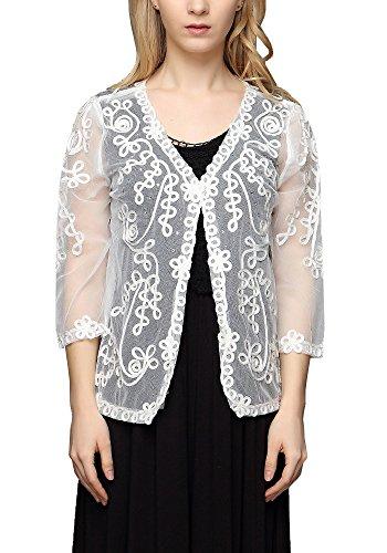 ONECHANCE Frauen Lace Mesh Sheer Blumenstickerei Open Front Cardigan Shrug Farbe Weiß Größe Eine (Frauen Halloween Benutzerdefinierte Kostüme)