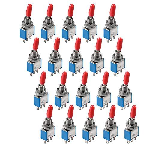 20x Miniatur Kippschalter   1-polig   3 Kontakte   EIN-EIN   6A 125V / 3A 250V   Metallhebel mit roter Plastikkappe   Rastend   Umschalter mit Lötösen   20 Stück