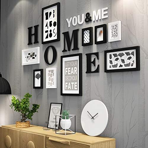 LBHE Rahmen Massivholz Fotowand, Moderne Einfache Kunst Kreative Wohnzimmer Restaurant Club Wand Fotorahmen Kombination Dekoration 9 stücke