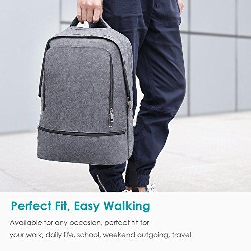 REYLEO Zaino per PC, Laptop Portatile Backpack con Porta USB Casual Impermeabile Unisex per La Scuola e Il Lavoro Fino a 26L (Grigio) - 6