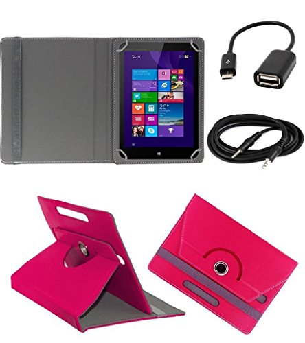 ECellStreet TM PU Leather Rotating 360° Flip Case Cover With Tablet Stand For Digiflip Pro ET701Tablet - Dark Pink + Free Aux Cable + Free OTG Cable  available at amazon for Rs.234