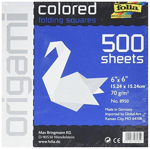 GlobalArt Folia Massiv Origami Papier 6X 6500/Pkg weiß
