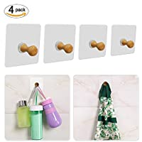 4 Pack Self Adhesive Hooks, Max 5KG Wooden Wall Mounted Hooks, Towel Rail Towel Robe Coat Hanger for Kitchen Bathrooms Lavatory Closets
