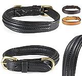 Pear - Tannery - Design Line: Hundehalsband Aus Weichem Vollrindleder, Versehen Mit Einer Edlen Dreifachnaht Mittig, XXS 26-36cm, Schwarz