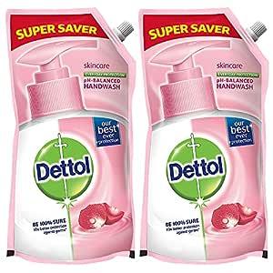 Dettol Liquid Handwash Dispenser Bottle Pump - Skincare Moisturizing Hand Wash (Buy 1 Get 1 Free - 750ml each) | Antibacterial Formula | 10x Better Germ Protection