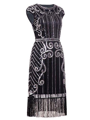 FAIRY COUPLE 1920er Gatsby Pailletten Verschönert Quasten Saum Flapper Kleid D20S013 Schwarz Silber
