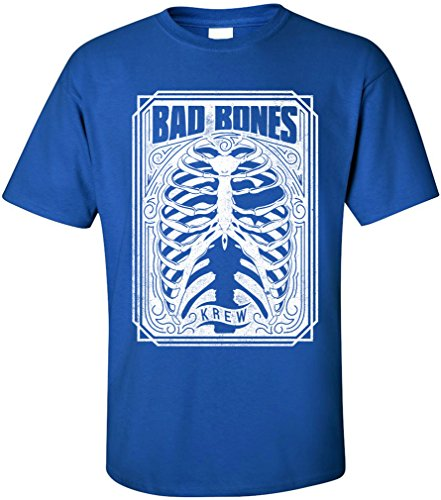 PAPAYANA - BAD-BONES - Herren T-Shirt - SKULL DEATH BREAK Royalblau