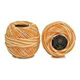 #5: Embroiderymaterial Crochet Cotton Thread Yarn for Knitting and Craft Making (Orange White Color, 20 Gram 1 Roll)