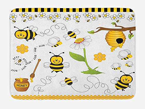 tgyew Collage Bath Mat, Flying Bees Daisy Honey Chamomile Flowers Pollen Springtime Animal Print, Plush Bathroom Decor Mat with Non Slip Backing, 23.6 W X 15.7 W Inches, Yellow White Black -