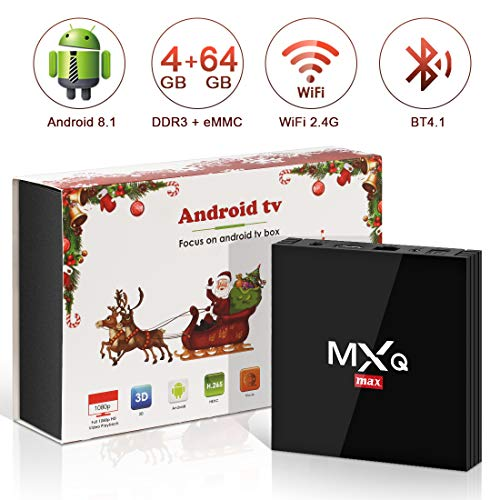 Android 8.1 TV Box 4GB+64GB superpow MXQ MAX Android Box Quad-Core mit BT4.1 3D/ 4k / 2.4Ghz WiFi / 100 LAN / H.265, HDMI Smart TV Box