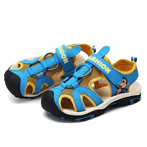 GEERBU Kinder Sandalen Strand Geschlossene Sandalen Klettverschluss Outdoor Wanderschuhe Breathable Schuhe Jungen Mädchen Blau Gelb