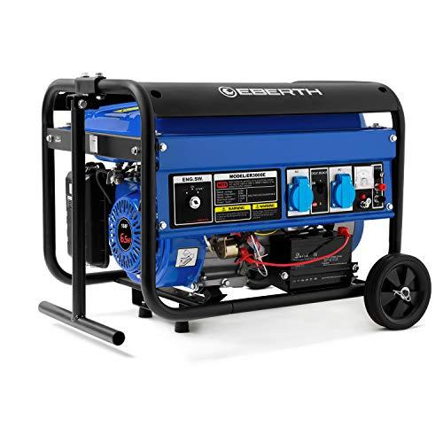 Eberth 3000 w generatore di corrente (telaio, motore a benzina 6,5 cv, 4 tempi, raffreddato ad aria, 2x 230 v, 1x 12 v, e-start, regolatore automatico di tensione (avr), voltmetro)