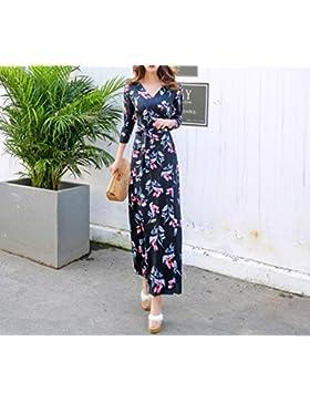 pllp Vestido de mujer, Xia Xian vestido largo de vacaciones de gran tamaño, falda de playa marea,azul,S