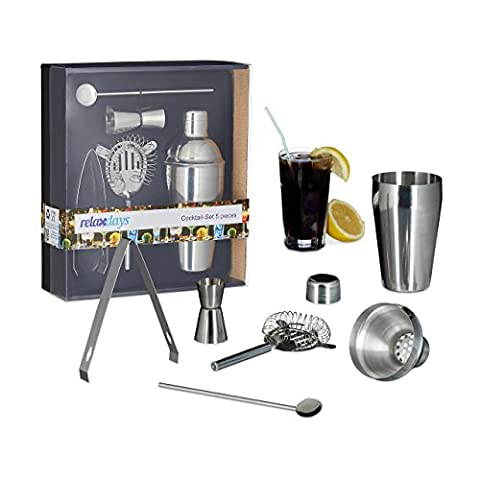 Relaxdays 5-Piece Cocktail Set, Rust-Free Stainless Steel, Shaker, Sieve, Bar Spoon, Tongs, Jigger,