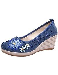Zapatos de mujer y niñas,❤️ Sonnena Zapatos de mujer de estilo nacional y lino con costilla bordada informal