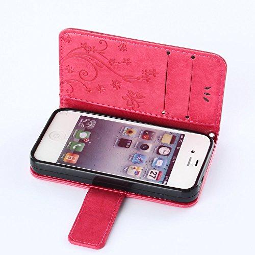 iPhone 4/4G/4S Premium PU Portefeuille en cuir Housse, newstars Folio Étui à rabat pour Téléphone portable Motif Lovers mobile pour protéger la peau étui en cuir pour iPhone 4/4G/4S Téléphone suppor Embossing Red