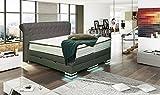 HG Royal Estates GmbH Baron Designer Boxspringbett mit Bettkasten Boxspring Bett LED Chesterfield Grau 180x200cm