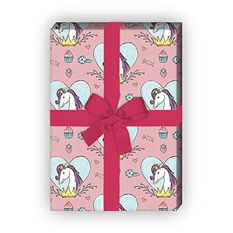 Mädchen Geschenkpapier mit Pferd in Herz mit Krone für tolle Geschenk Verpackung und Überraschungen 32 x 48cm, auf rosa