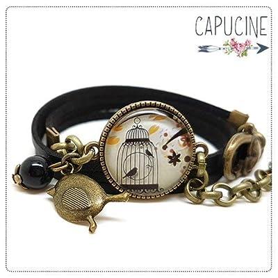 Bracelet 3 Tours Noir Cage aux Oiseaux Marron Ocre avec Cabochon Verre, Breloque et Perle en Jade, Métal Bronze, Simili Cuir, Ajustable