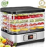 COOCHEER Deshidratador de Alimentos 250W,Desecadora de Fruta con 5 Bandejas Ajustables, Temperatura...