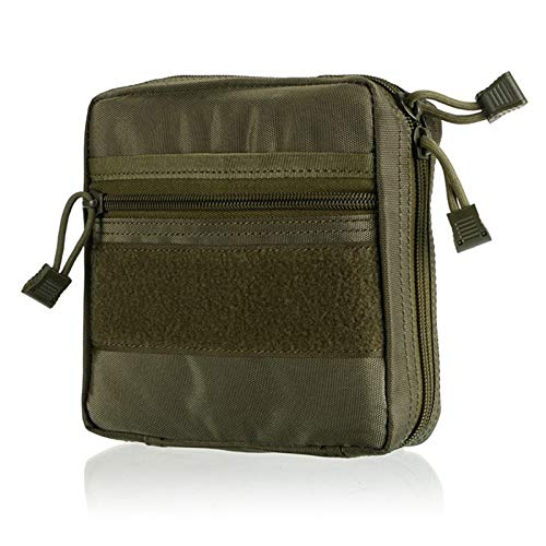 HWZ Tactical MOLLE Bags Portable Packs EDC Pouch Multi-Function Medical Kit Utility Tool Belt First Aid Survival Bag (Green) -