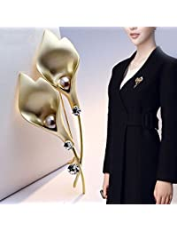 TT De gama alta la Sra. Leaf Beads Rhinestone broche ramillete accesorios,Oro,8 * 3.5 cm